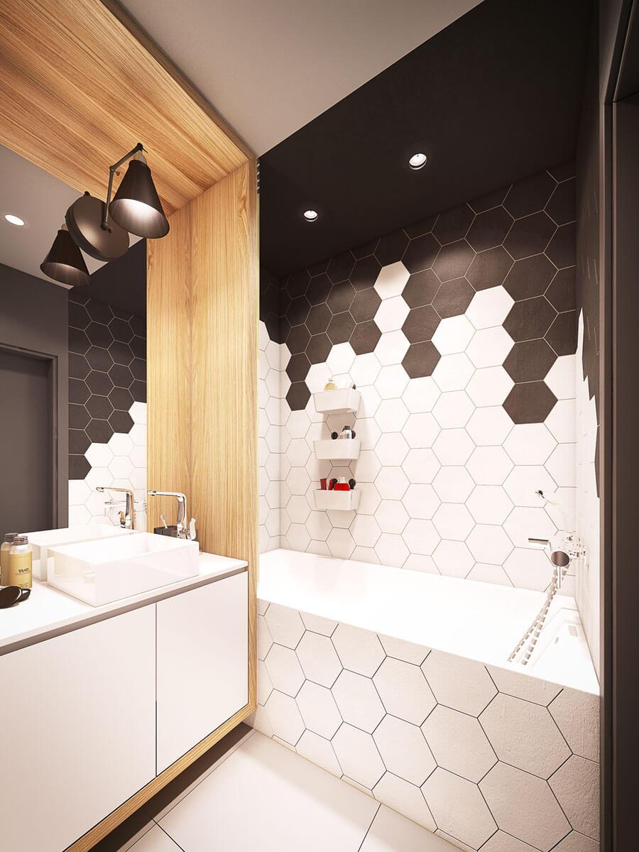 дизайн маленькой ванной комнаты в черно-белом цвете