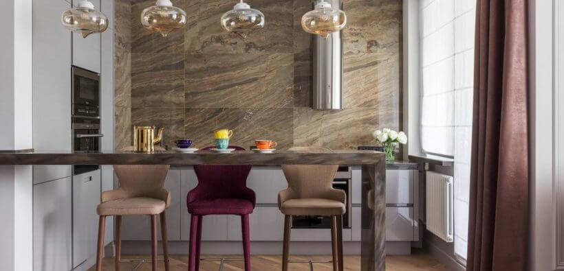 Угловые кухни с барной стойкой: 21 фото 2019