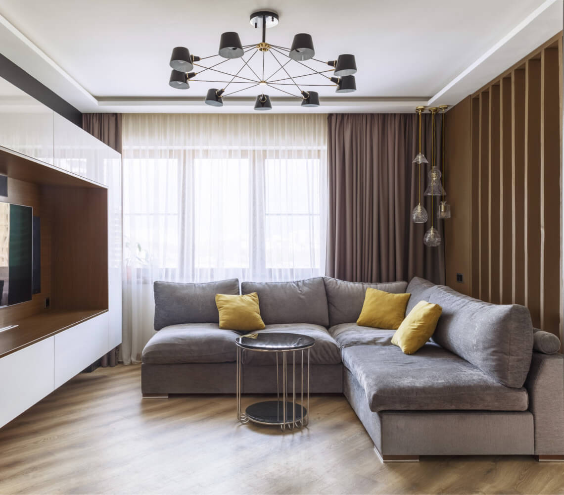 Дизайн зала в панельном доме