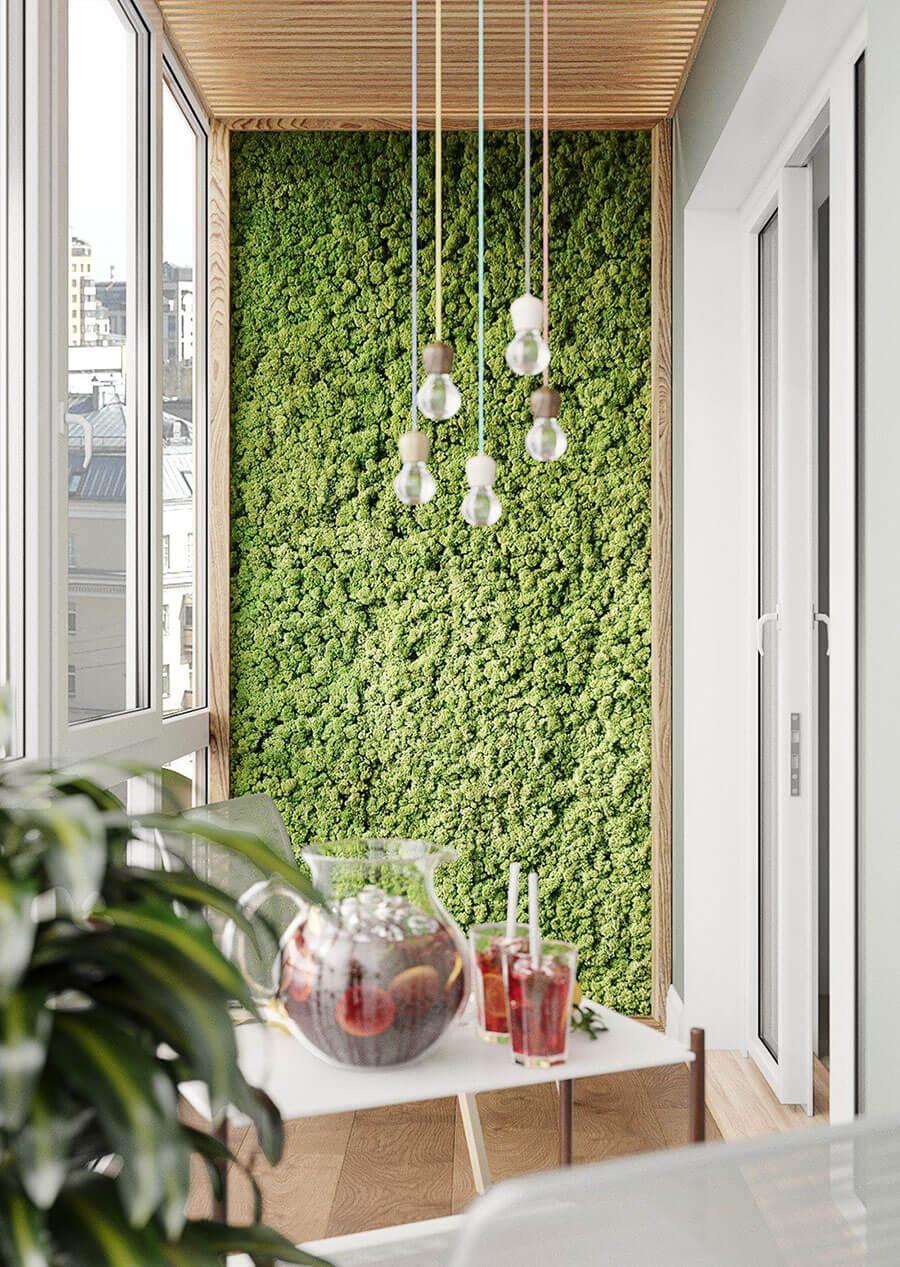 зеленая стена на балконе