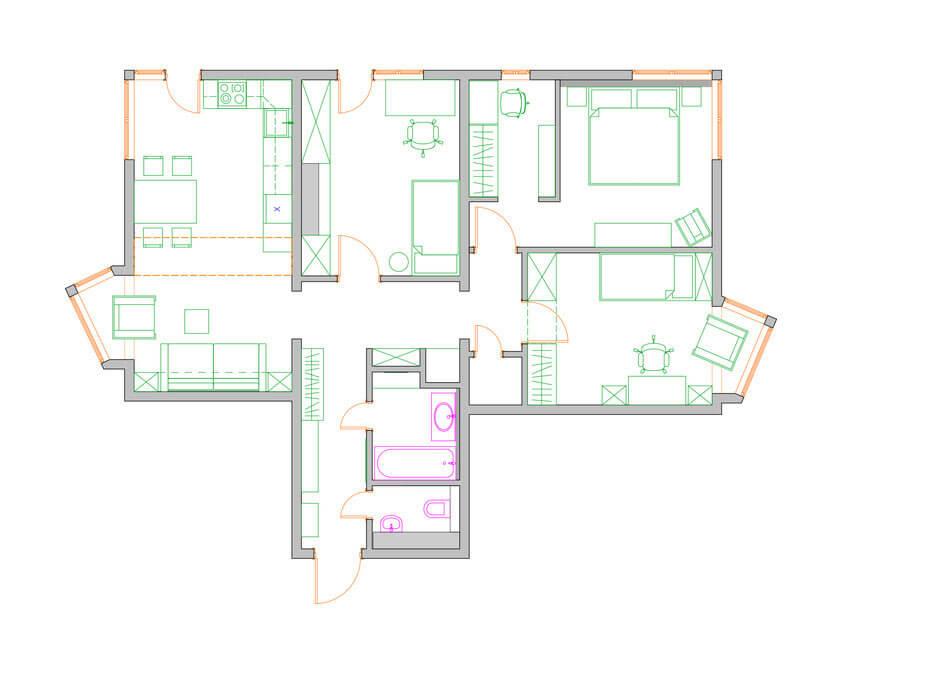 Перепланировка квартиры-распашонки