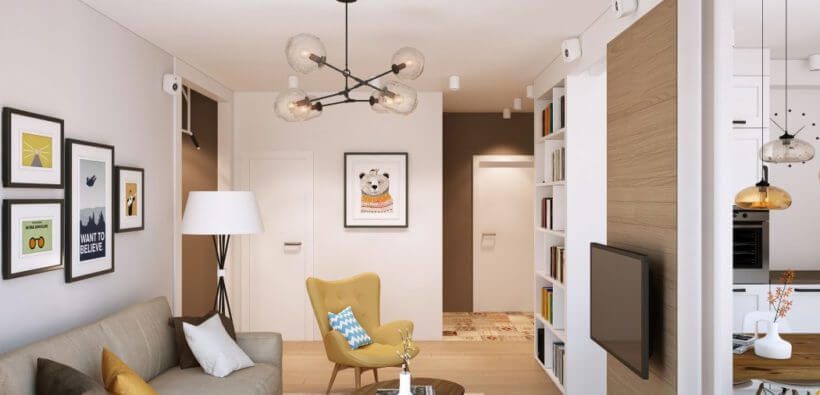 Дизайн 3-х комнатной квартиры 63 кв. м для молодой семьи