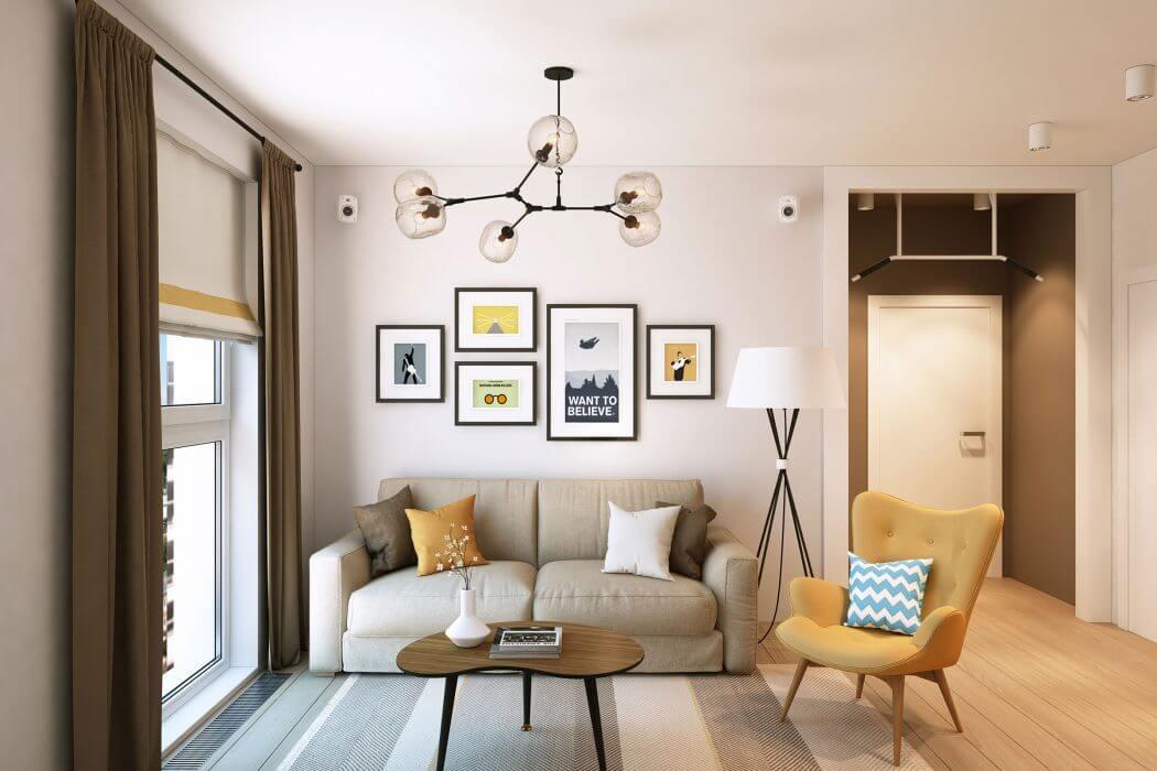 Дизайн 3-х комнатной квартиры 63 кв. м