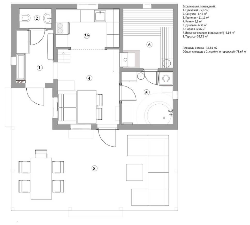 План одноэтажного дома бани