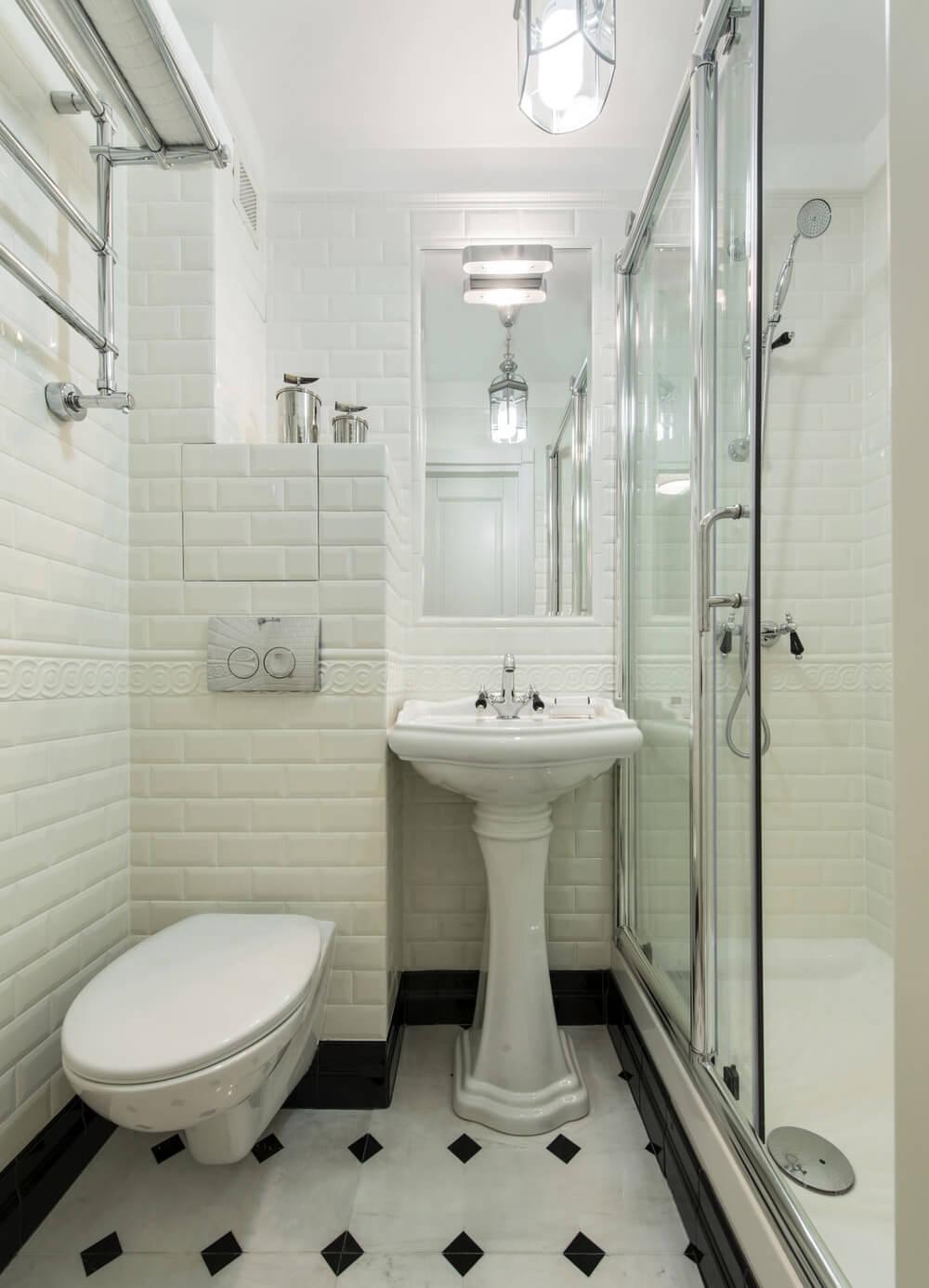 Белая ванная комната в хрущевке
