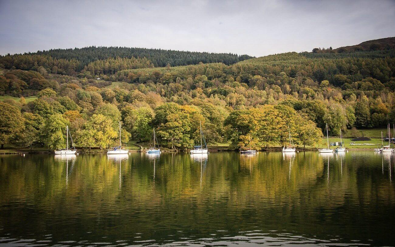озеро с яхтами