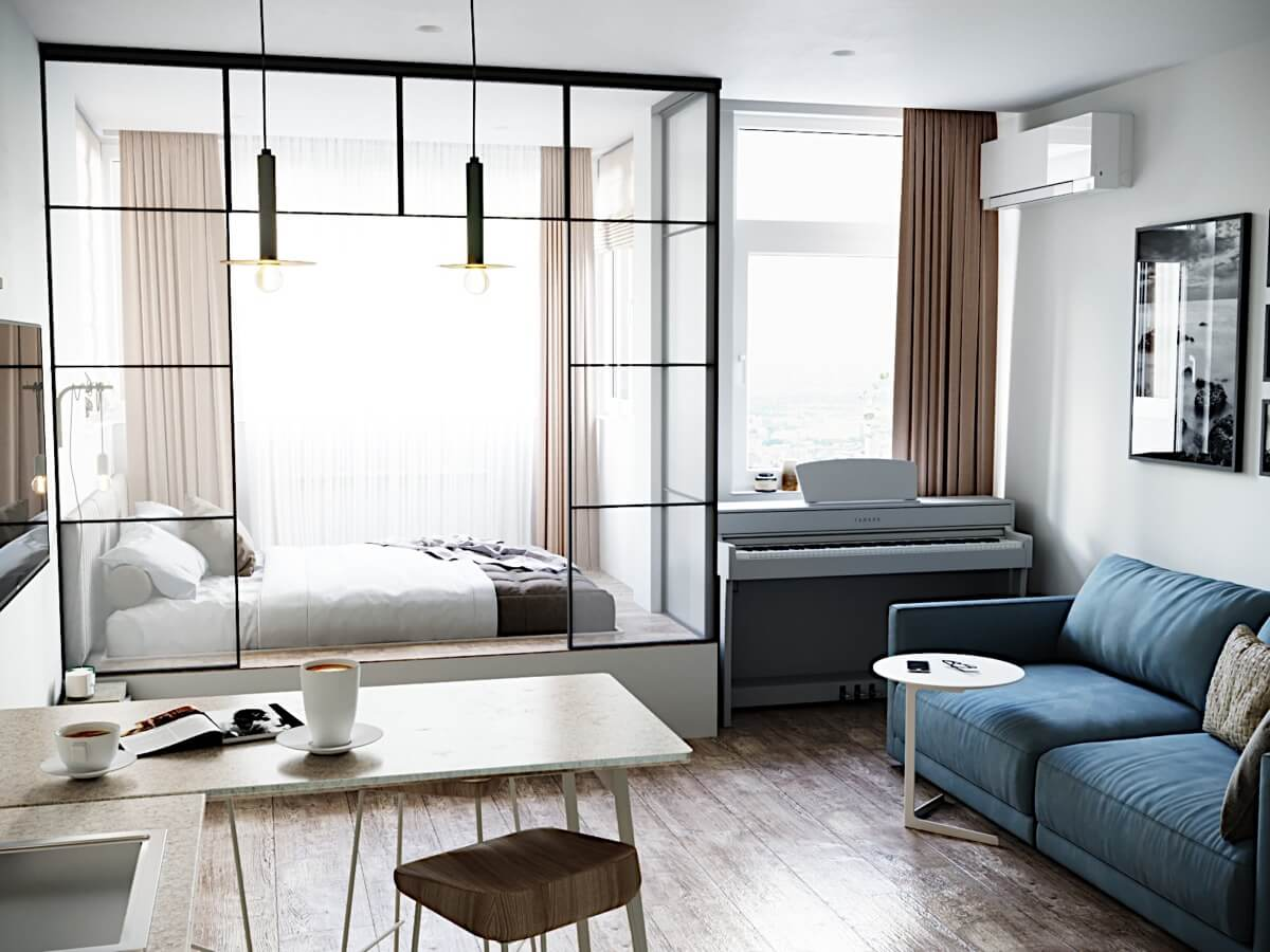 Современный дизайн квартиры-студии 26 кв. м