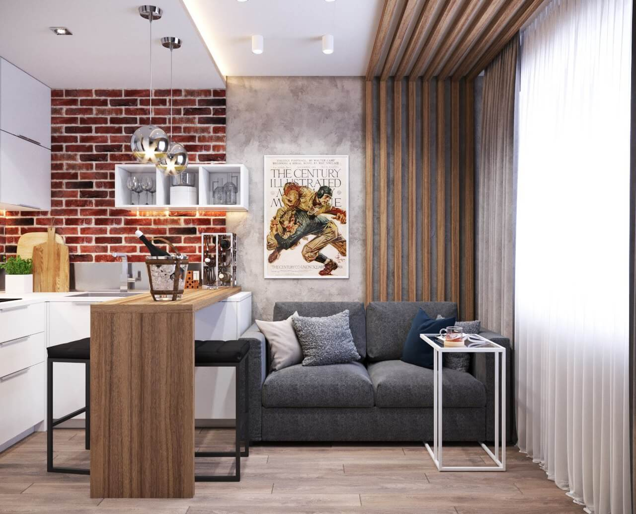 Кухни-студии в маленьких квартирах