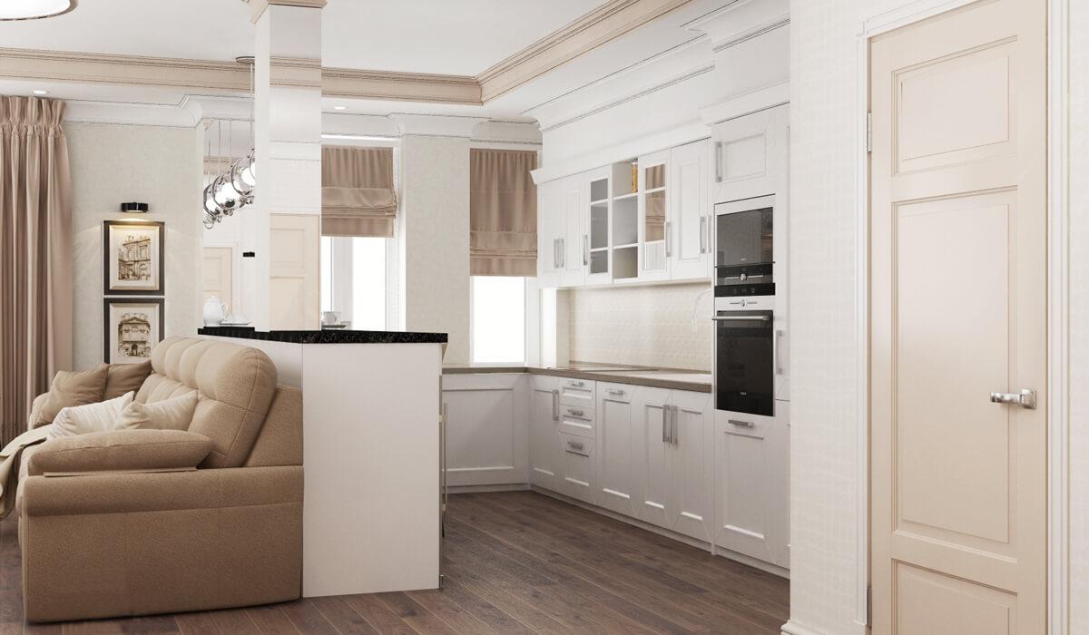 Кухня-студия в белом цвете