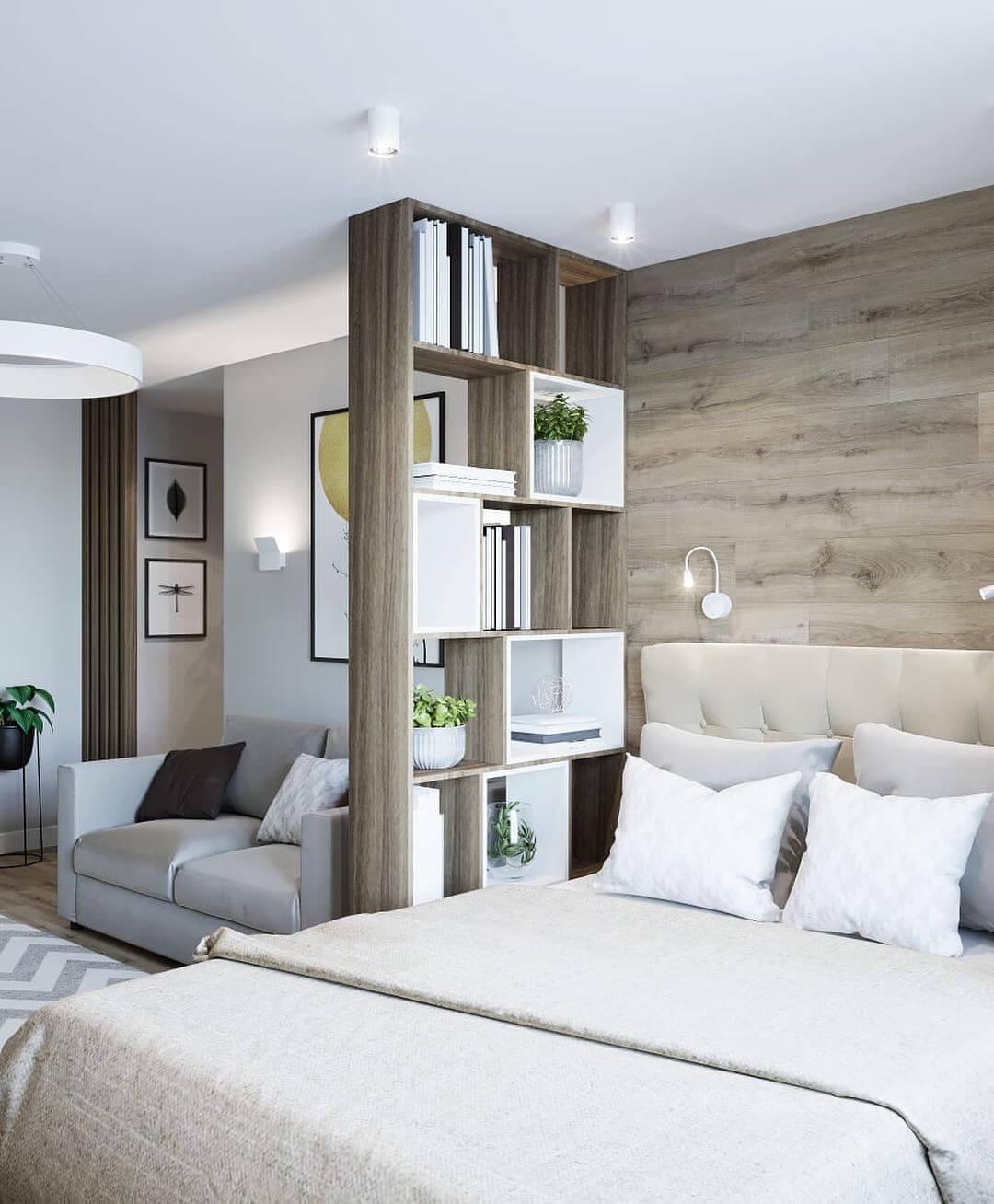 дизайн маленькой спальни с диваном