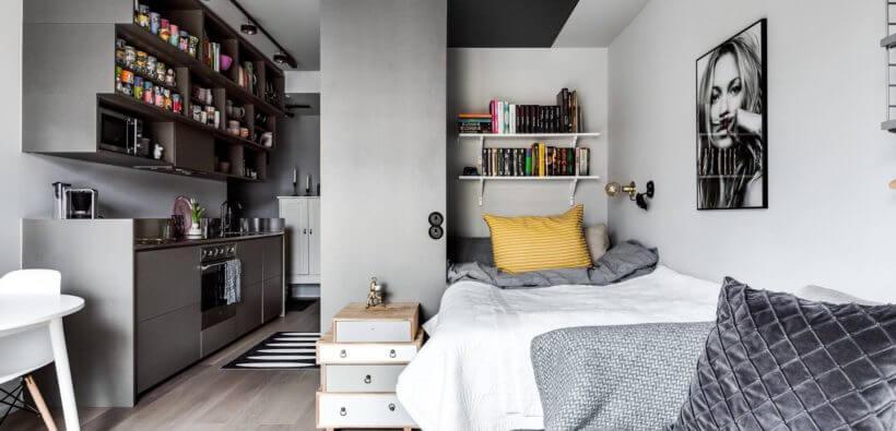 Стильный дизайн квартиры-студии 25 кв. м