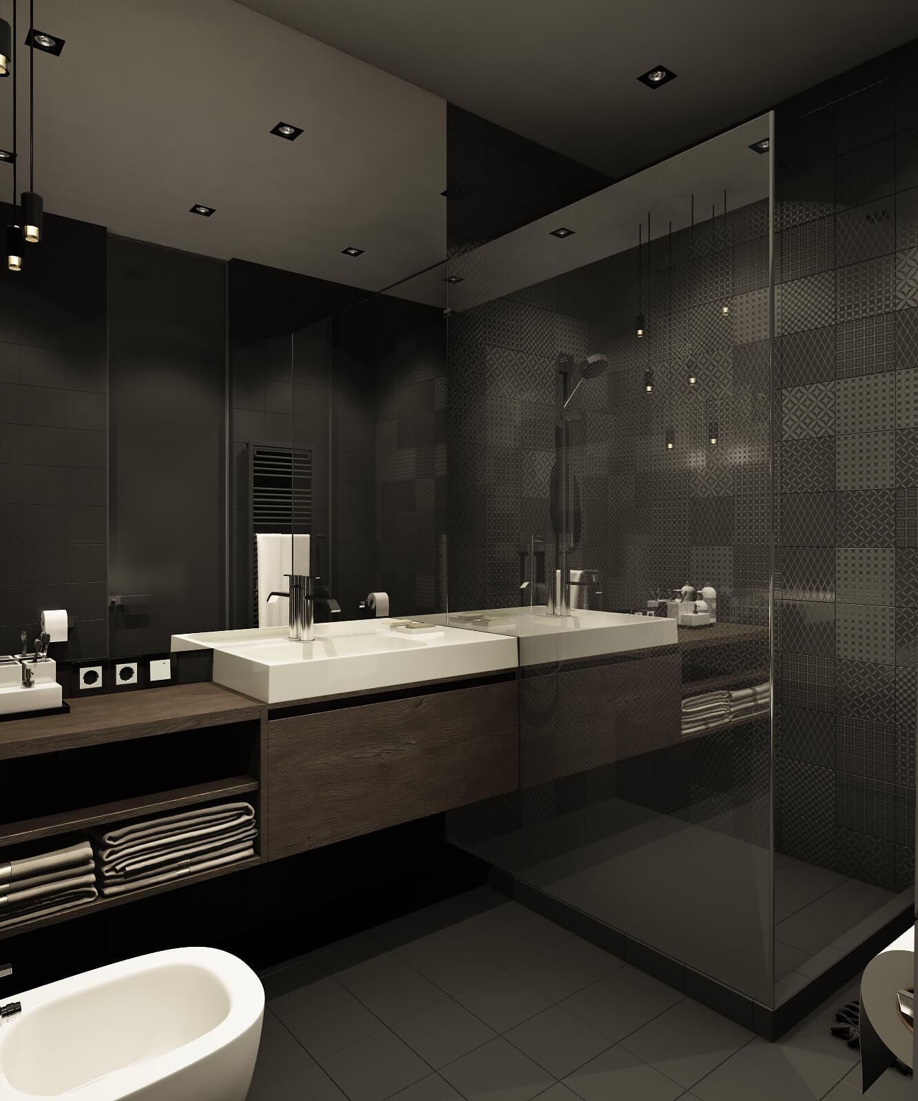 Красивая ванная комната с душевой кабиной