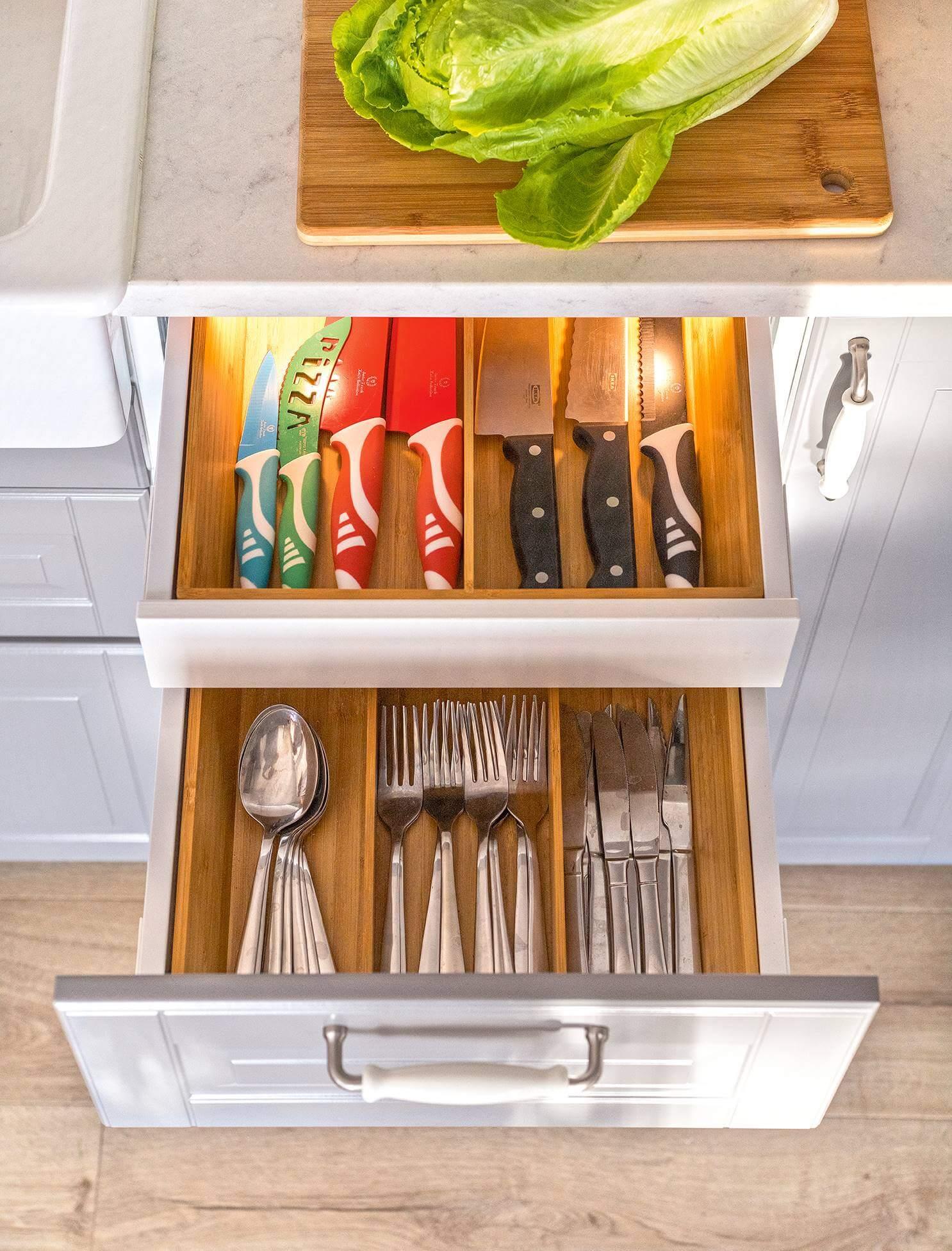 Организация ложек и вилок на кухне