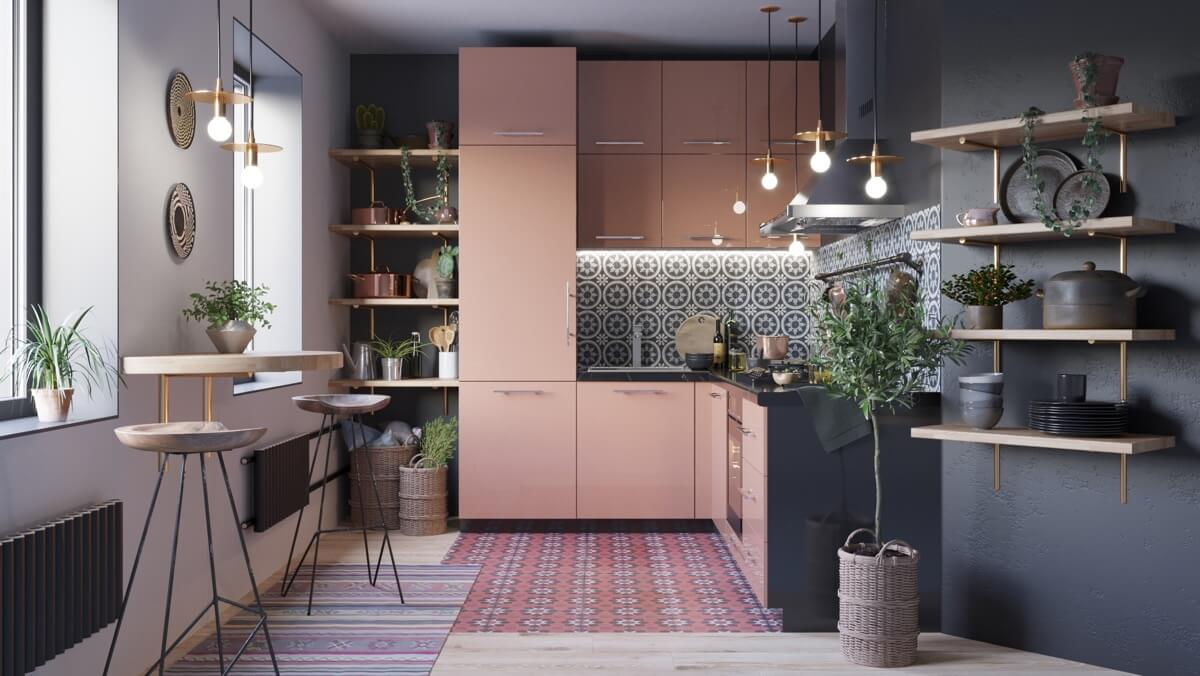 Кухня в черно-розовом цвете