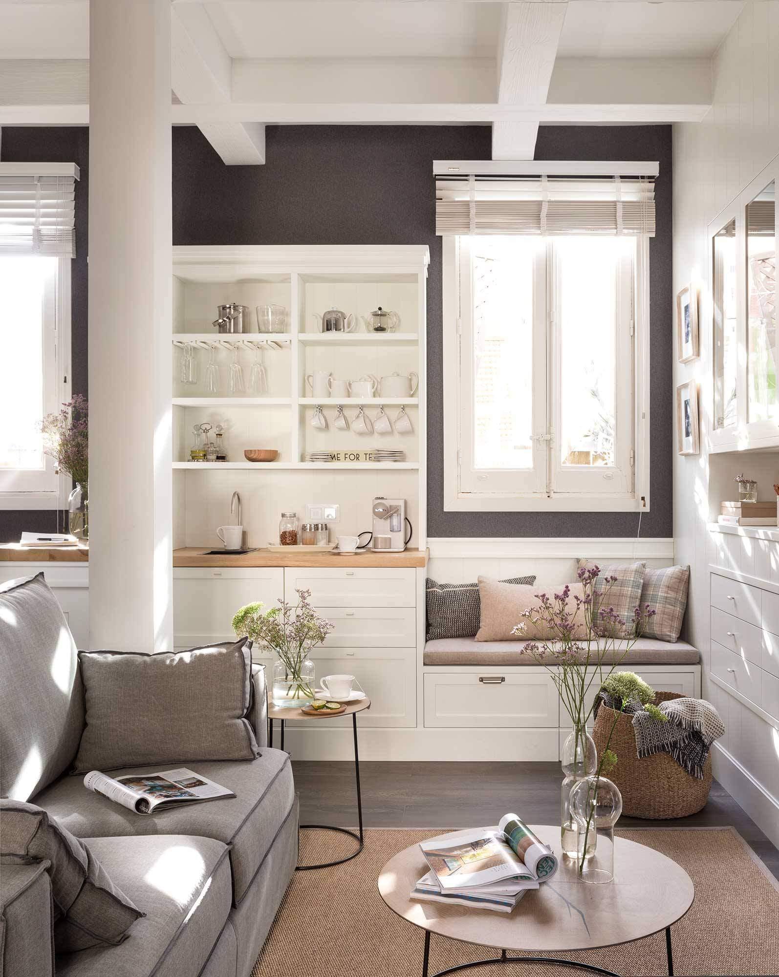 Интерьер гостиной-кухни в доме