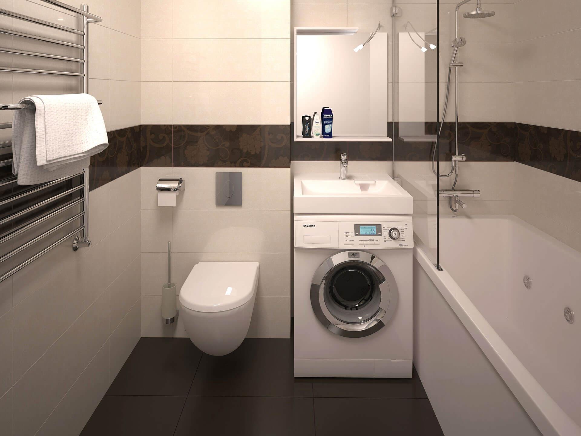 стиральная машина в ванной дизайн