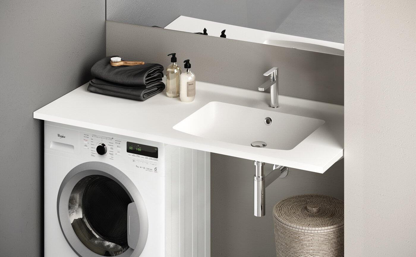 стиральная машина в ванной под раковиной