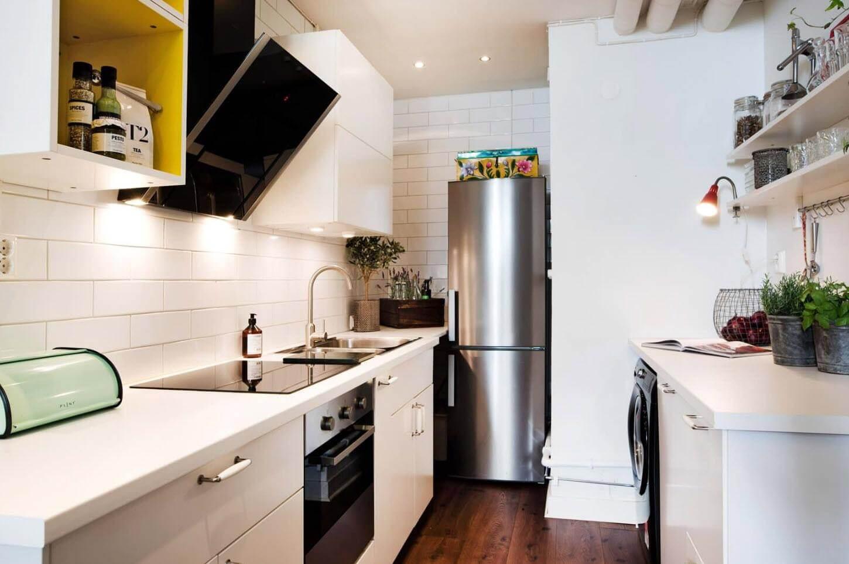 где расположить стиральную машину на кухне
