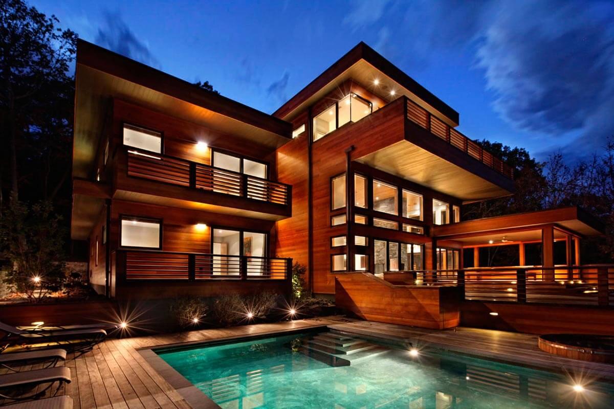 дизайн загородного дома с бассейном