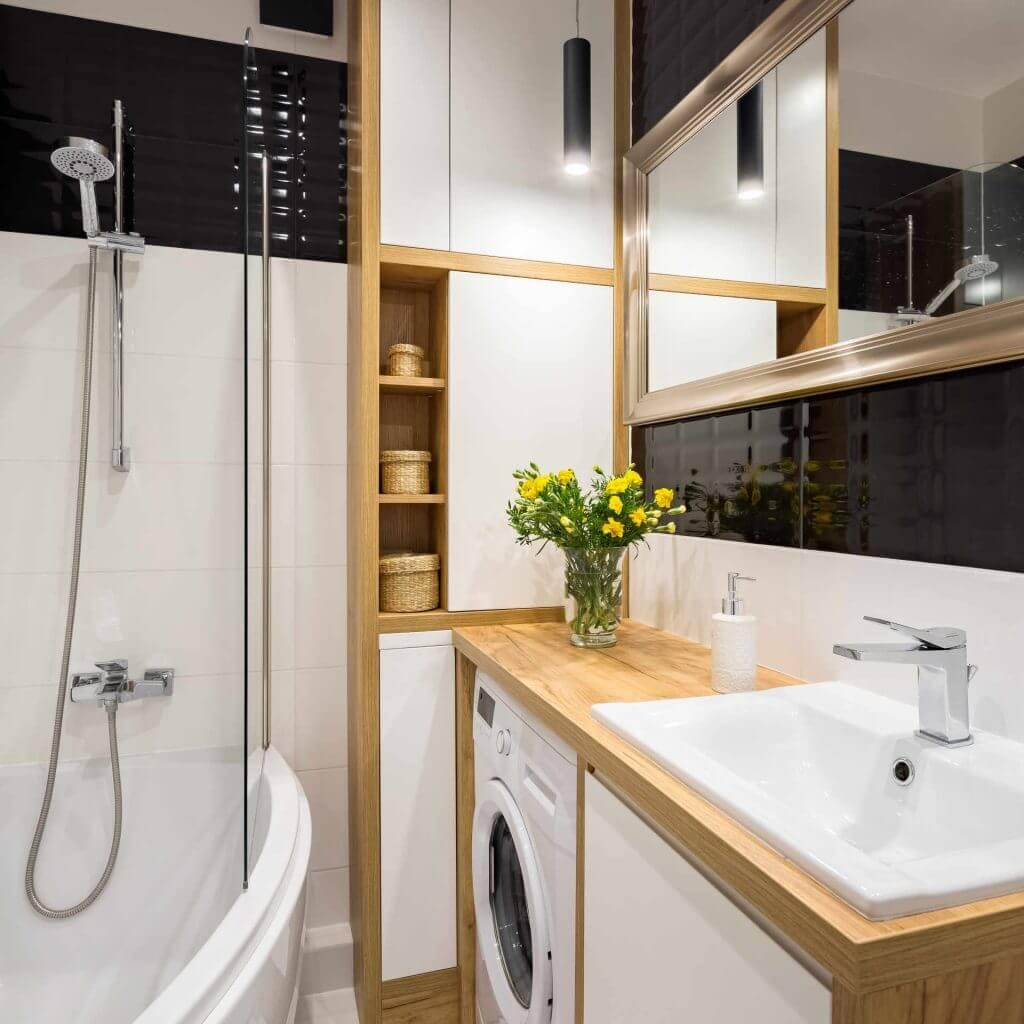 дизайн ванной комнаты с угловой ванной в хрущевке