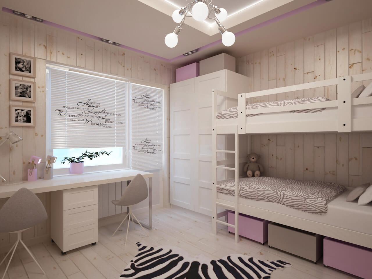 Дизайн детской комнаты 12 кв.м для двоих детей