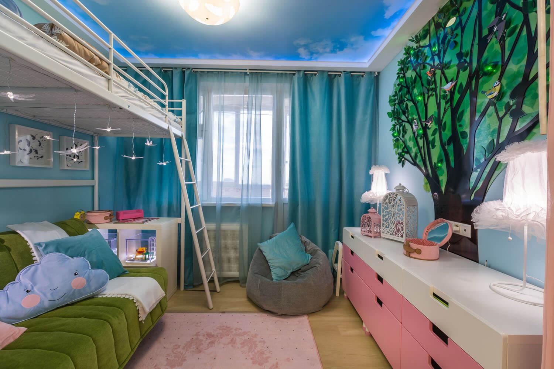 Дизайн детской комнаты для разнополых детей 12 кв.м