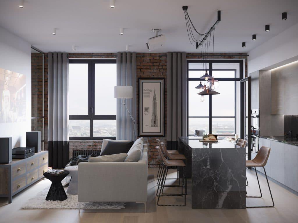 дизайн зала в двухкомнатной квартире фото