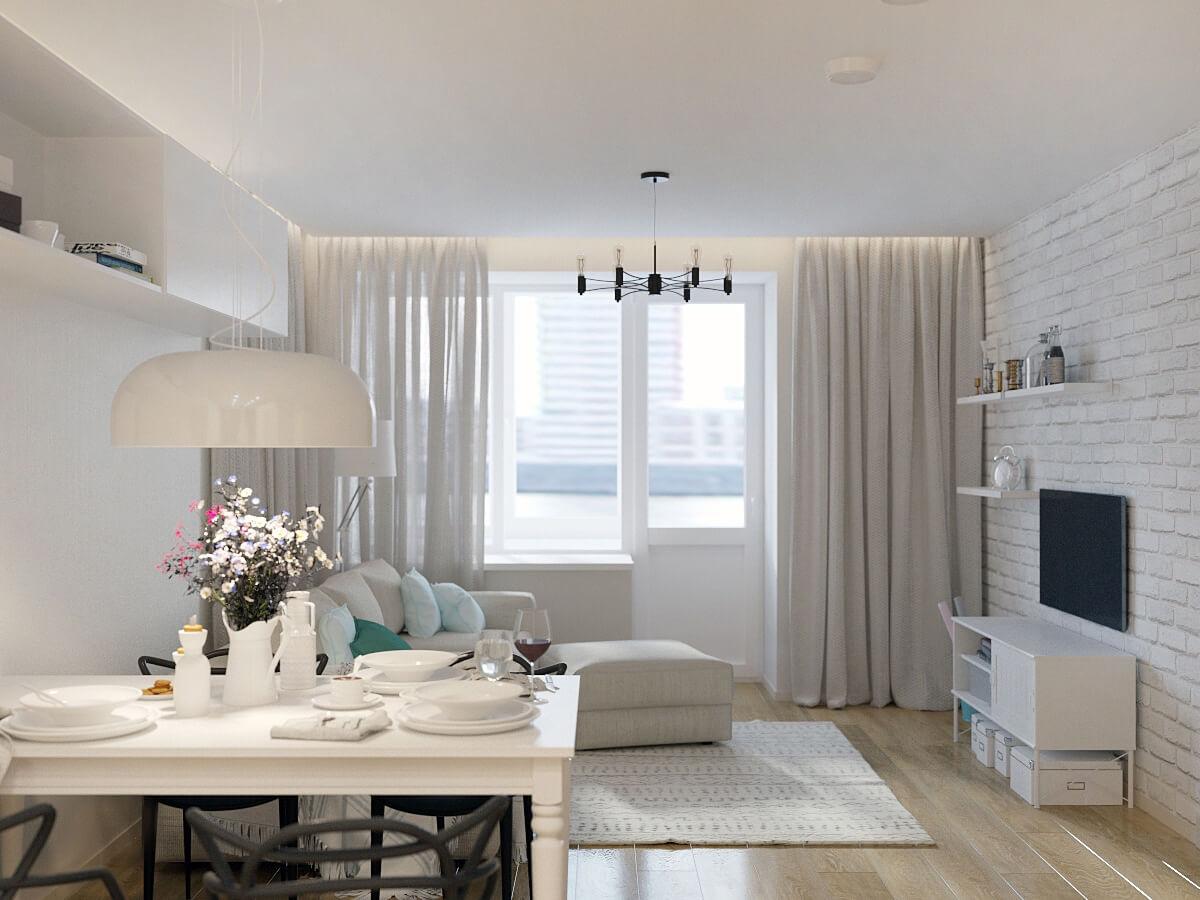 Дизайн гостиной в 2-х комнатной квартире