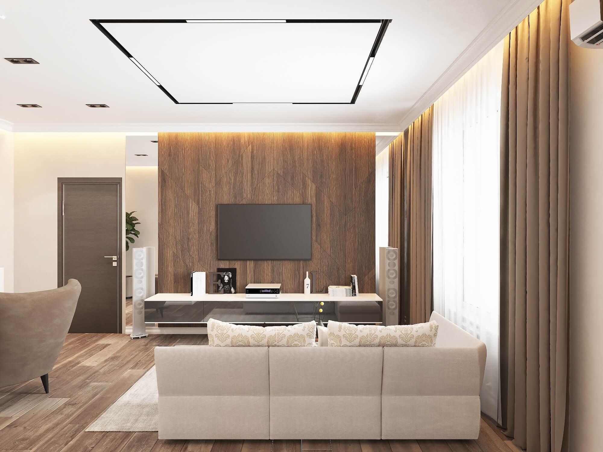 Интерьер гостиной в 2-х комнатной квартире