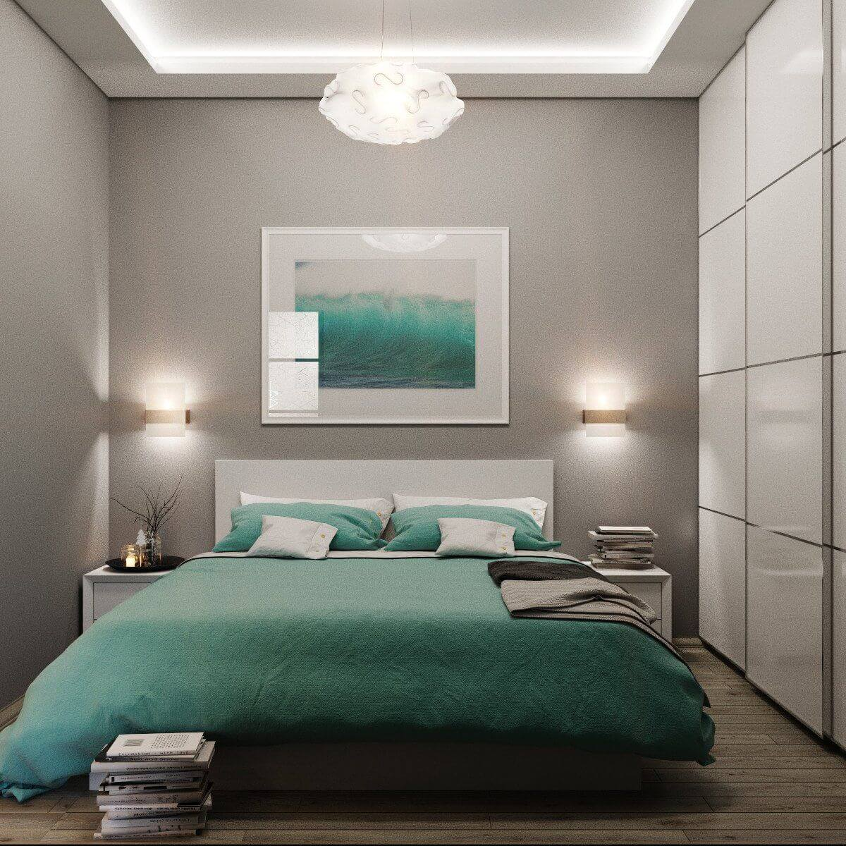 Узкая спальня с шкафом купе