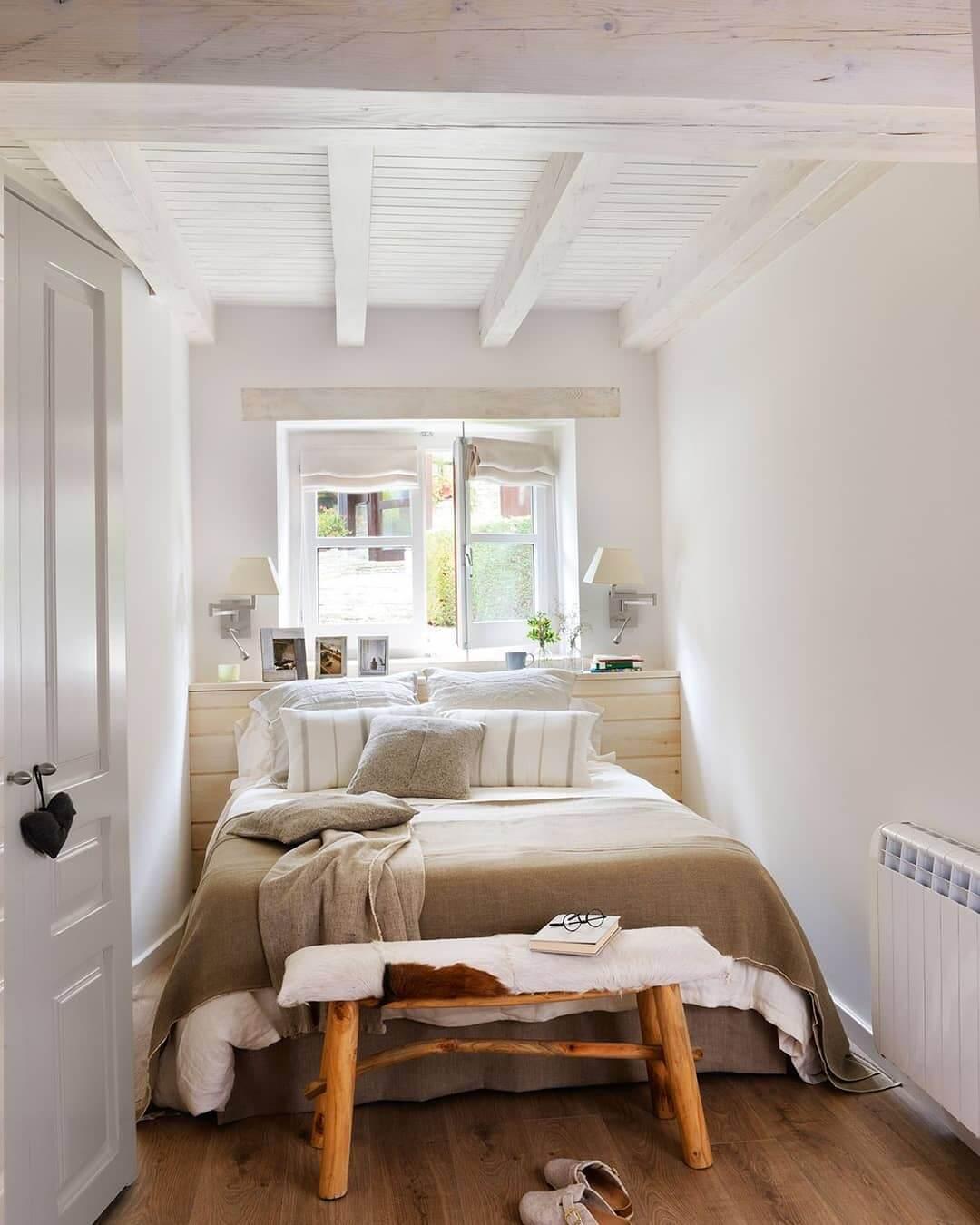 Узкая спальня в скандинавском стиле
