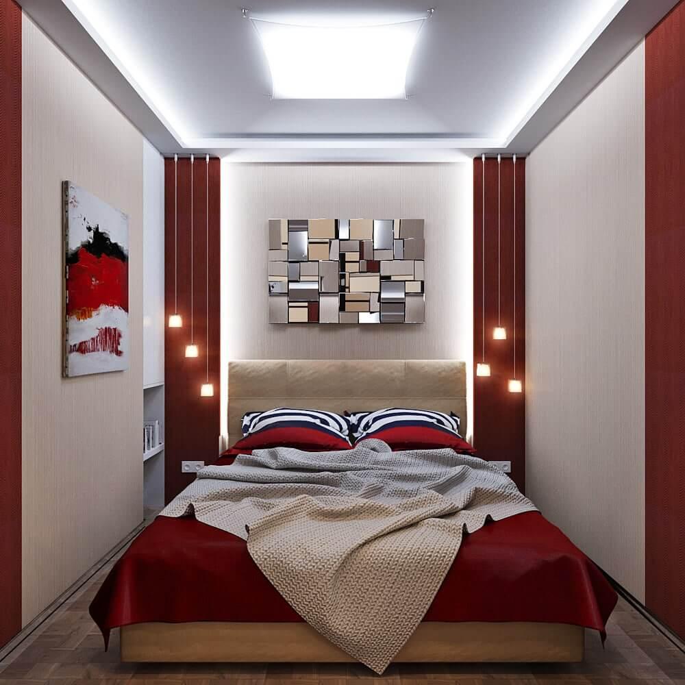 Узкая и длинная спальня