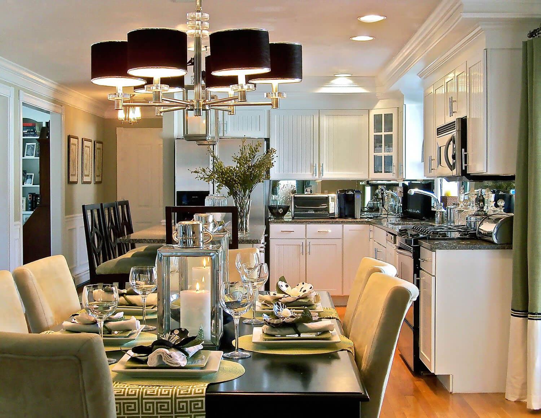 Интерьер кухни столовой в белом цвете
