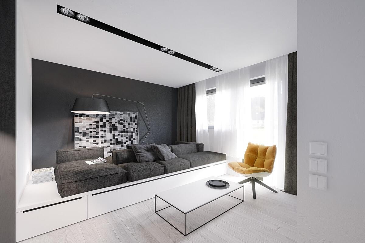 Черно-белый интерьер квартиры студии
