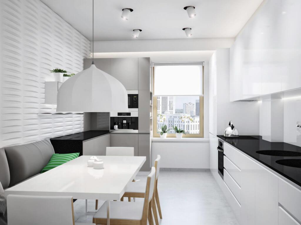 дизайн белой кухни 9 кв м