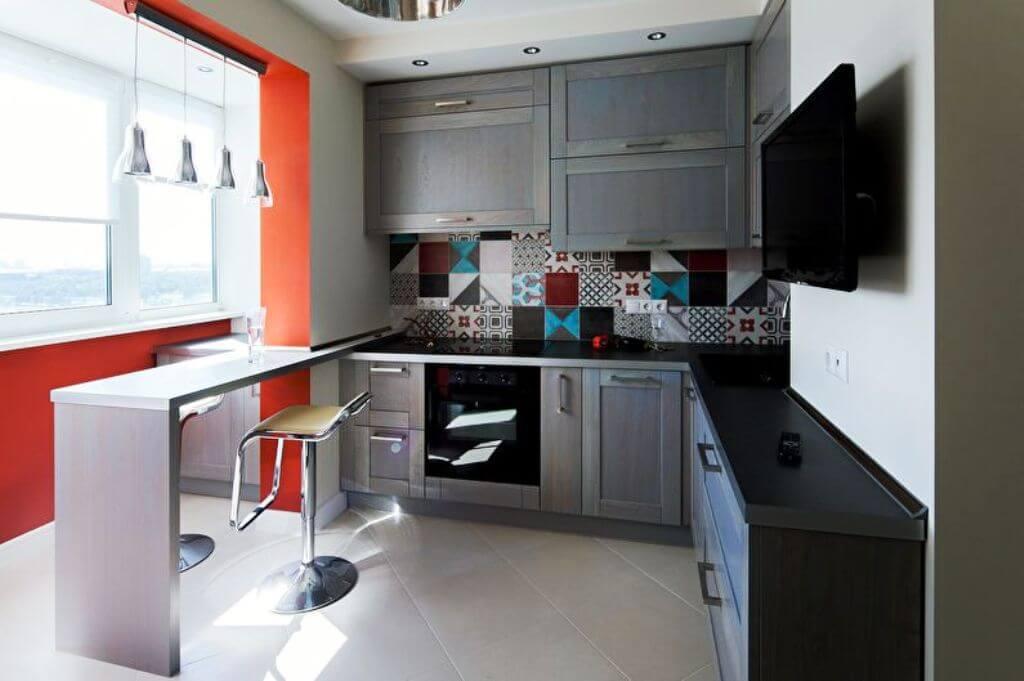дизайн квадратной кухни 9 кв м