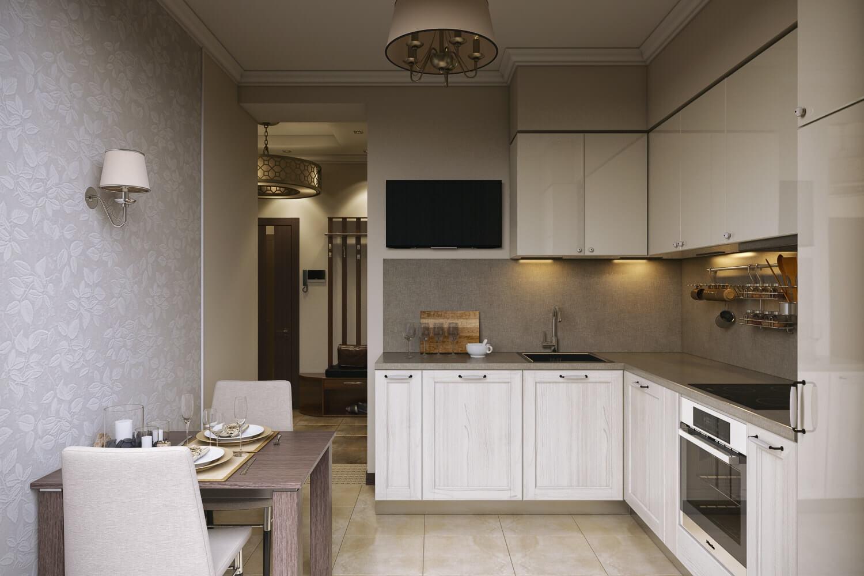 интерьер кухни 9 кв м современная классика
