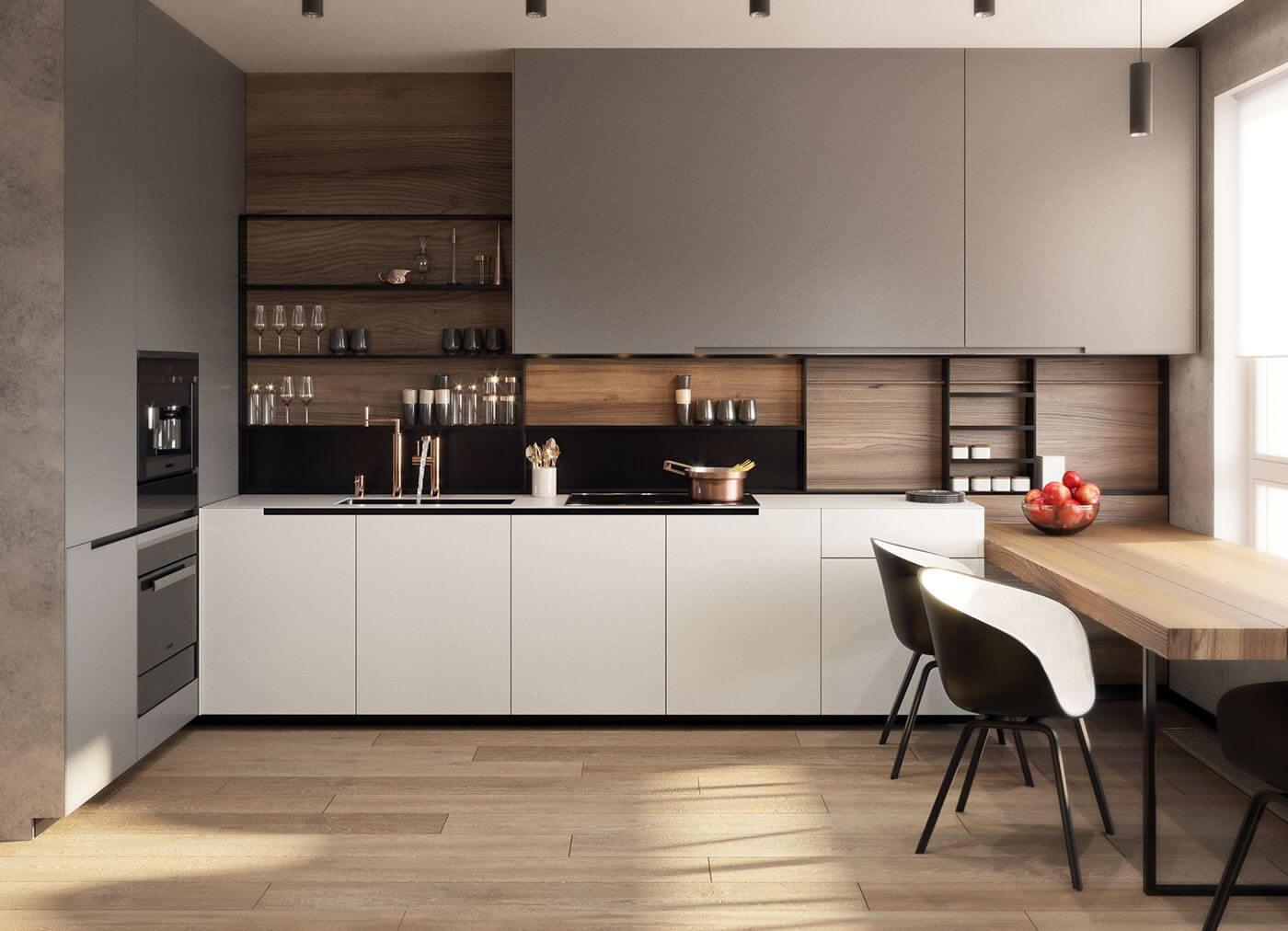 Дизайн кухни 9 кв м прямая
