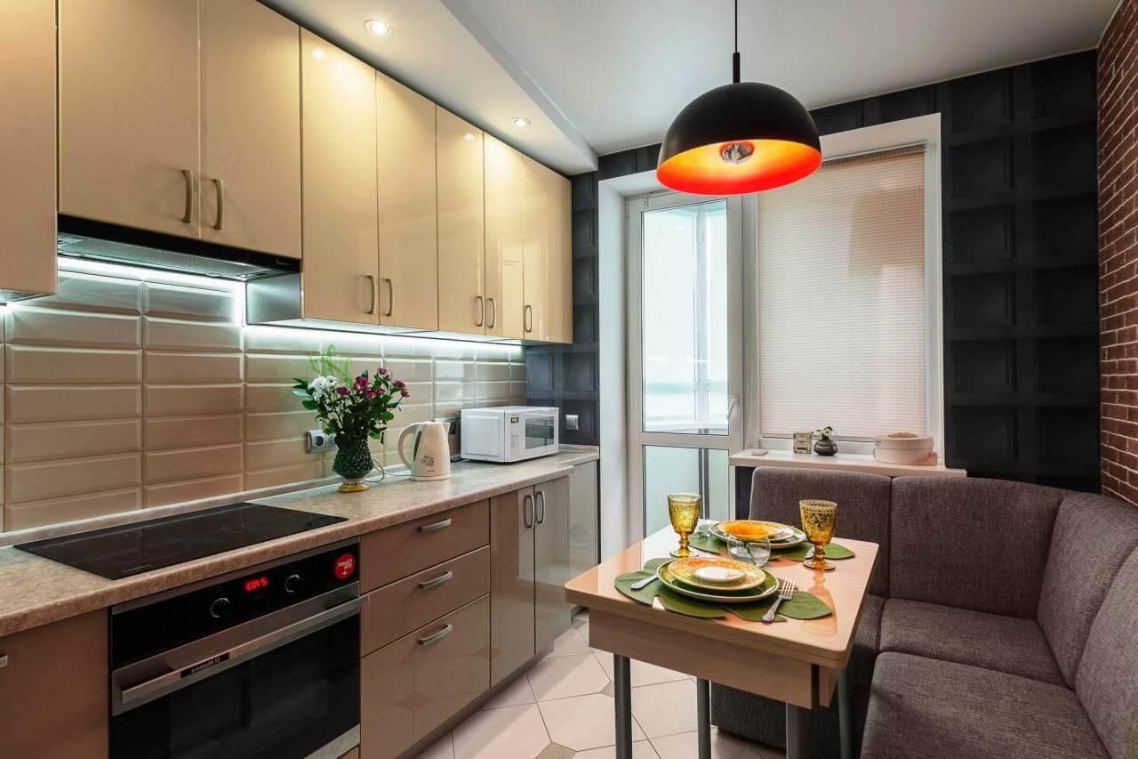 Дизайн прямоугольной кухни 9 кв м