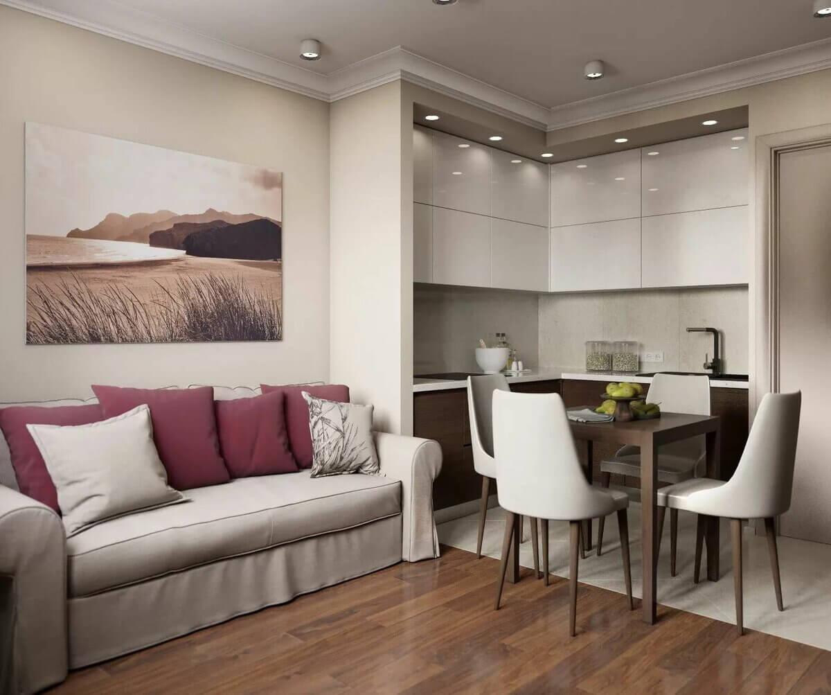 интерьер кухни 9 кв м с диваном