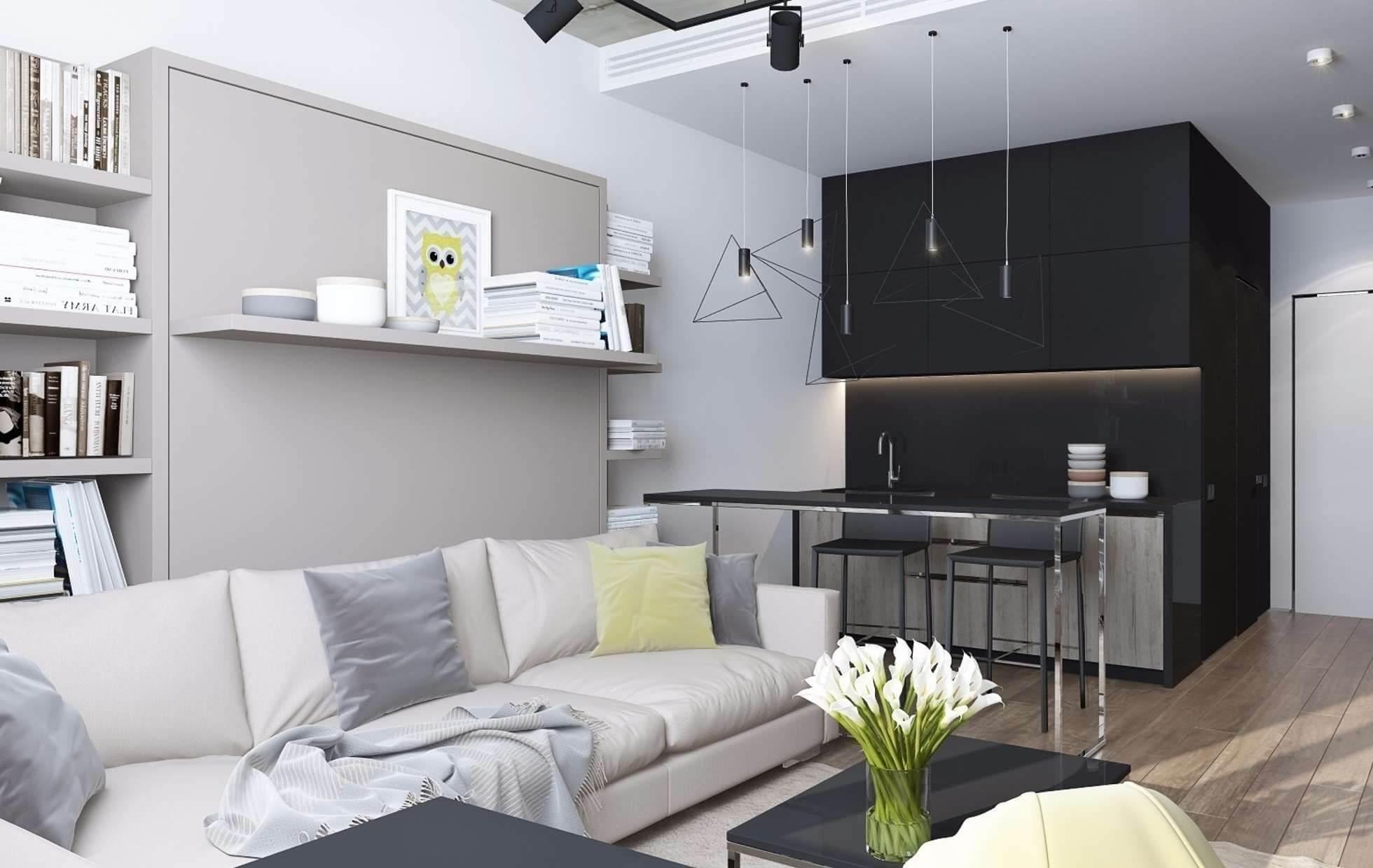 Интерьер квартиры студии 24 кв.м