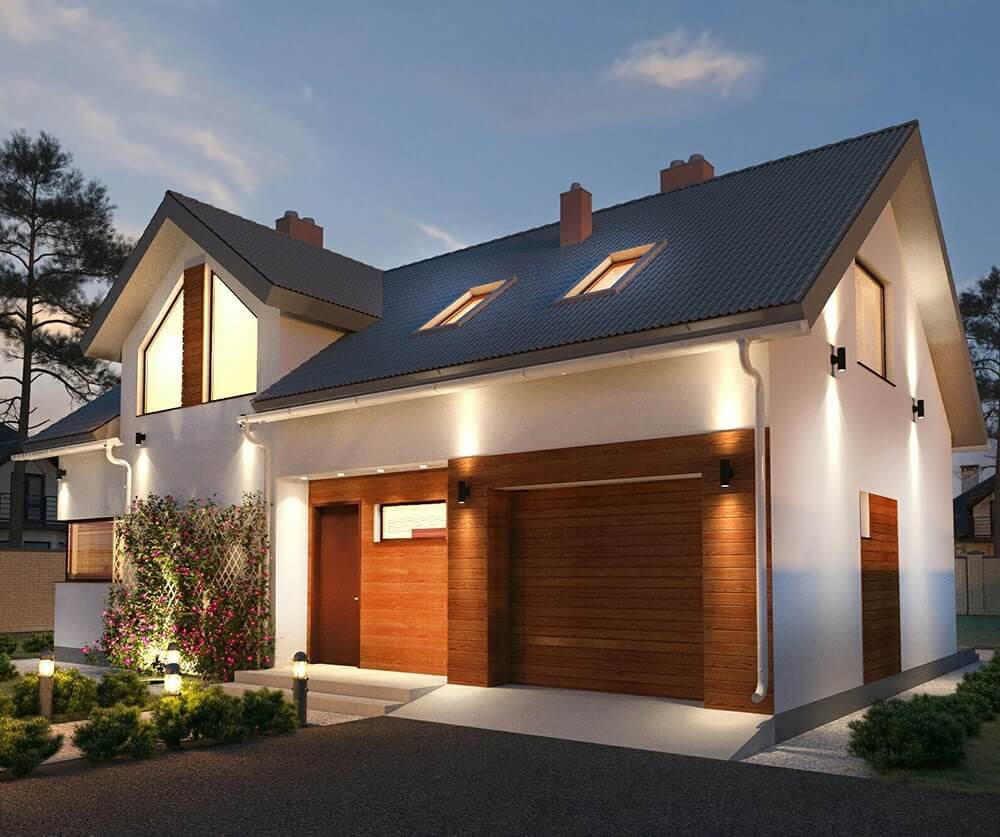 Освещение фасада частного дома