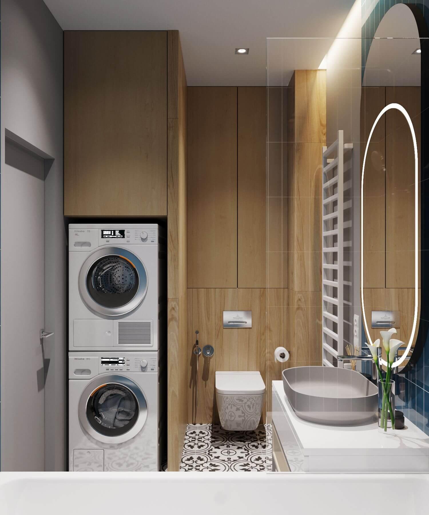 дизайн ванной со стиральной и сушильной машиной