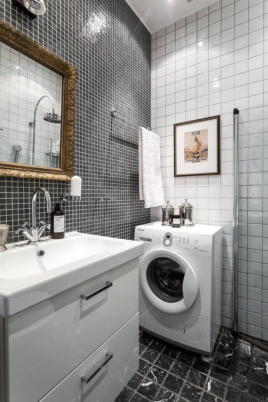 интерьер ванной со стиральной машиной