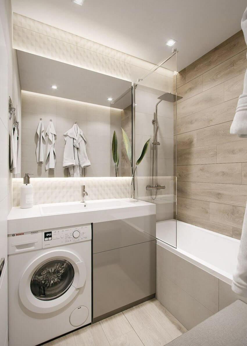 дизайн ванной комнаты со стиральной машиной под раковиной