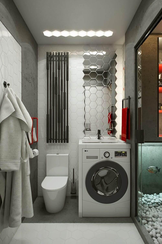 дизайн маленькой ванной комнаты со стиральной машиной