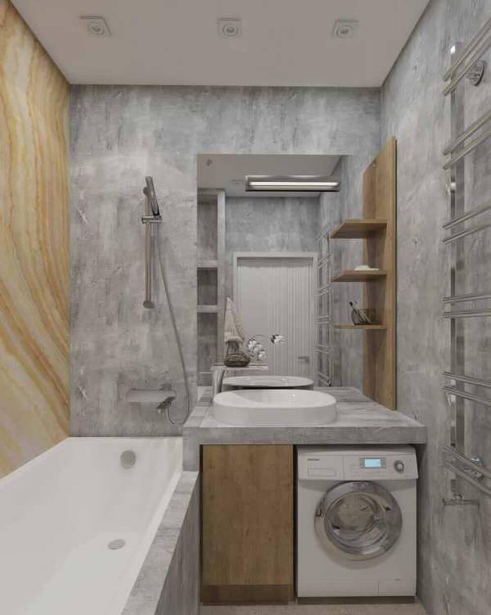 Дизайн ванной со стиральной машиной под раковиной