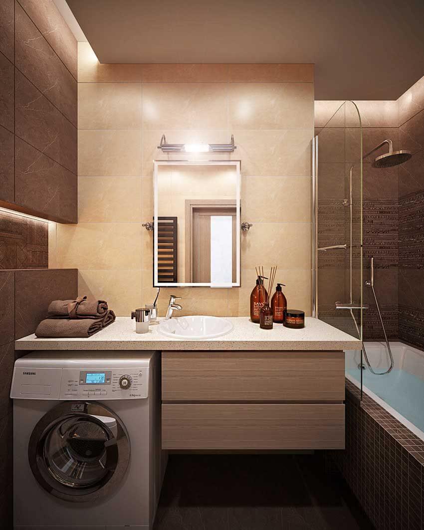 интерьер маленькой ванной со стиральной машиной