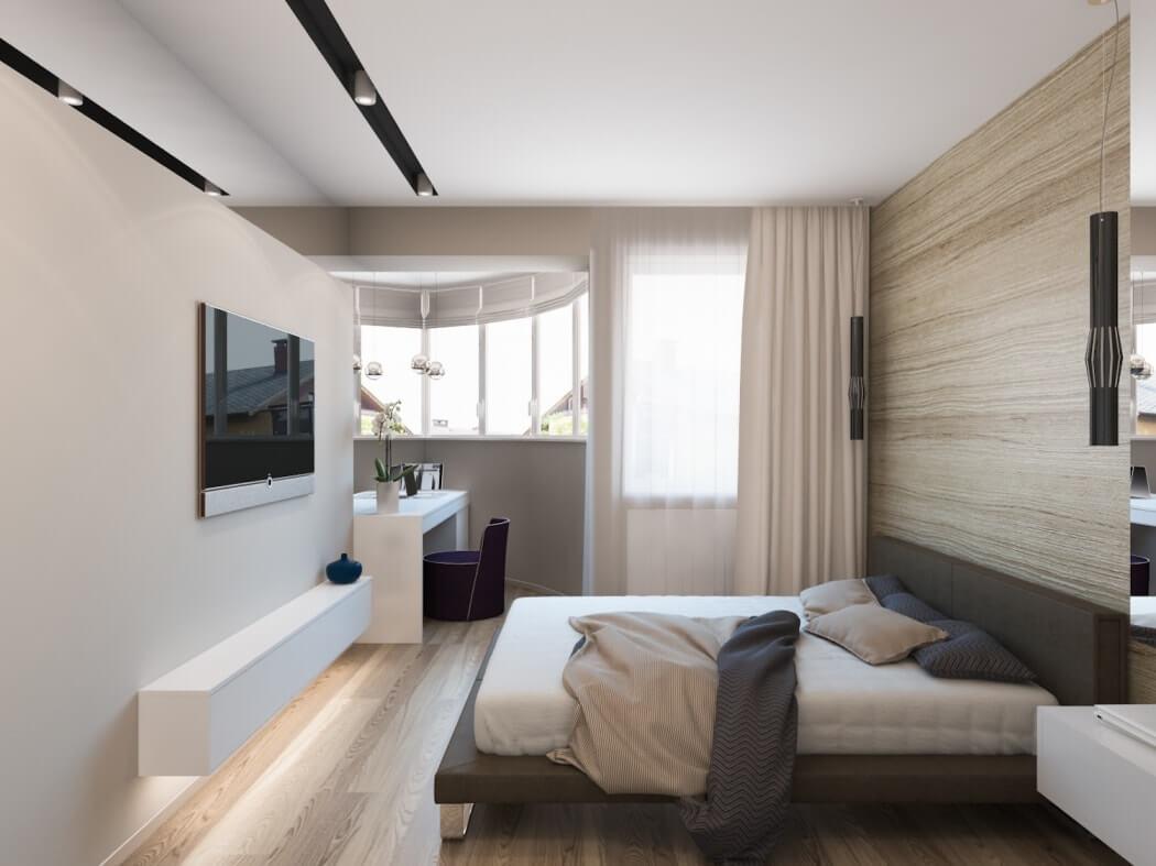 вытянутая спальня с балконом