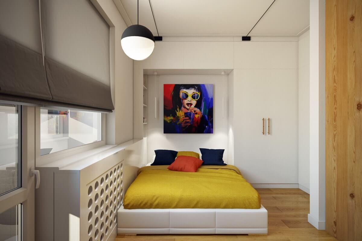 спальня 12 квадратов с балконом
